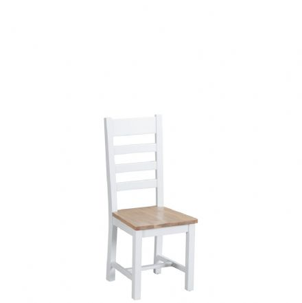 Toulouse White Ladder-Back Wooden Seat Chair
